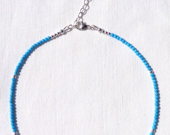 Sleeping Beauty Turquoise Necklace, Turquoise Necklace, Adjustable Necklace, No Pendant, Sleeping Beauty Turquoise Rounds, OOAK