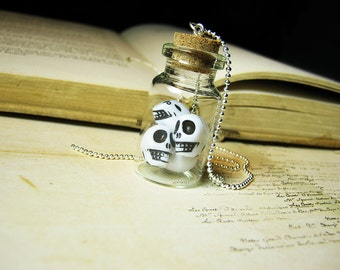 Jar of Skulls Glass Bottle Necklace Charm - Halloween Tiny Skulls - Cork Vial Pendant