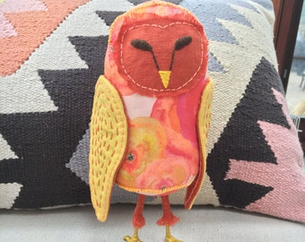 Fabric Owl, Owl Doll, Soft Sculpture Owl, Textile Owl