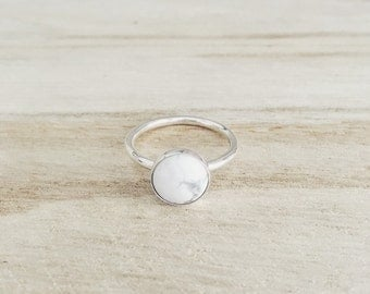 Howlite ring, marble, white marble, sterling silver ring, silver rings, stacking ring, stone ring, handmade ring