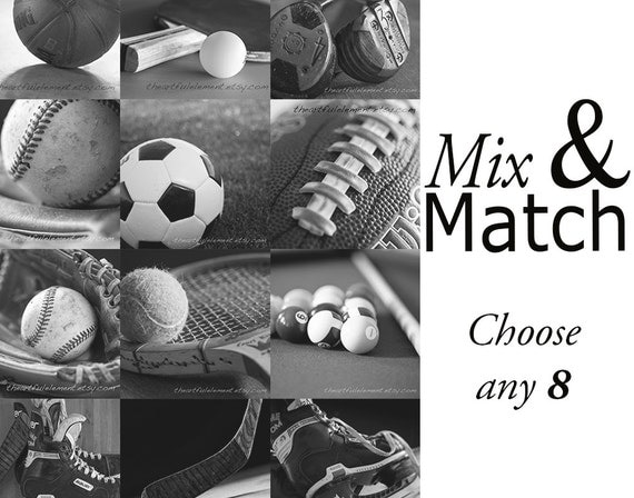 Sports decor boys room, Football art, Baseball decor, Sports canvas, Man cave art, Fathers day, Kids room art // Mix and Match Sports Prints