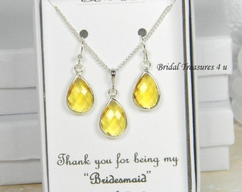 Yellow / Silver Bridesmaids Teardrop Necklace Set, Yellow Bridesmaid Gift Set, Yellow Earrings, Citrine Canary Bridesmaids Earrings - TD