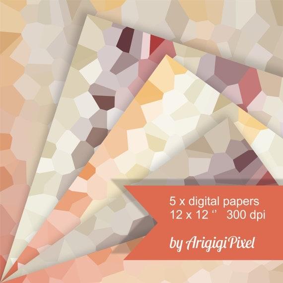 geometric papers, digital collage sheet, fall colors, orange, yellow, printable, scrapbooking, digital background download