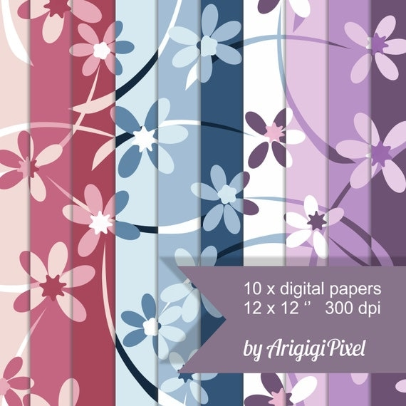 Floral Seamless Pattern - Flowers Papers blue mauve pink purple - digital collage - scrapbooking background download