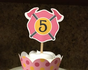 Girl Firefighter Cupcake Topper, Firefighter Cupcake Toppers, Fire Cupcake Toppers