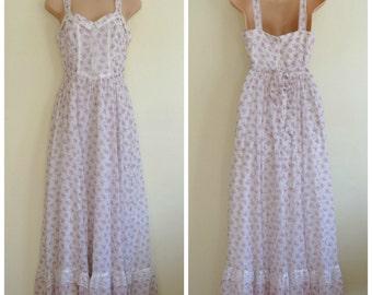 Vintage Gunne Sax White Floral Bridal Wedding Prairie Style Dress Approx UK 10