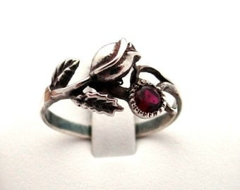 Sterling silver ring, rose ring with zircon, cubic zirconia ring, anello d'argento, silberner ring, bague en argent, anneau rose, stieg ring
