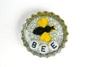 Bottle Cap Magnet - Bee - Single Magnet