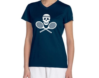 WOMENS Active Dry Fit TENNIS Skull and Cross Rackets Custom Tennis Team Shirts
