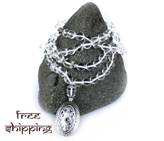 Japa Mala Hand Knotted 108 Gemstone Mountain Clear Quartz Crystal 10 mm Beads Prayer Yoga Necklace for Meditation and Mantra - Free Shipping