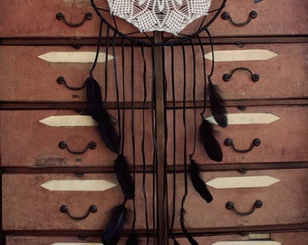 ON SALE! Huge black dream catcher made with leather and feathers.