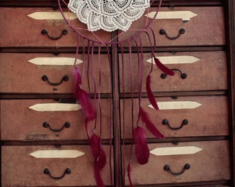 ON SALE! Huge magenta dream catcher made with leather and feathers.