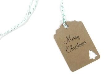 Christmas Gift Tags, Set of 10 Kraft Tags with Christmas Tree, Personalized Christmas Tags, Kraft Christmas Tags, Holiday Gift Tags