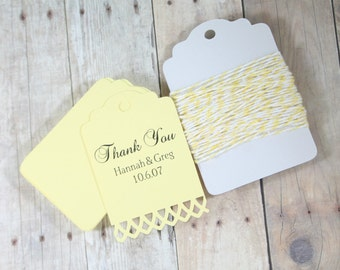 Personalized Light Yellow Wedding Tags Set of 20 - Bridal Shower Gift Tags - Custom Wedding Tags in Light Yellow - Save The Date Hang Tags