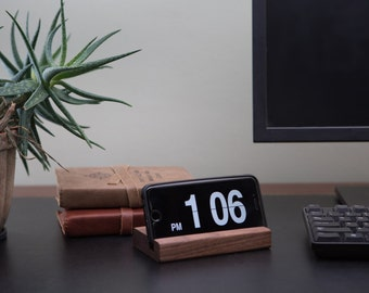 Wood iPhone Stand or Docking Station for Smart Phone - Handmade in USA - Black Walnut - Use with iPhone or Android