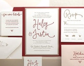 The Thistle Suite, Modern Letterpress Wedding Invitation Suite, Red, Marsala, Blush, Taupe, Gold, Liner, Calligraphy, Script, Simple, Pocket