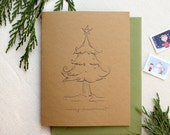 Letterpress Merry Christmas Whimsical Tree Holiday Card on Kraft Paper - Single Card or Set of 6 - Ready to Ship