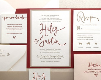 The Thistle Suite, Modern Letterpress Wedding Invitation Sample, Red, Marsala, Blush, Taupe, Gold, Liner Calligraphy, Script, Simple, Pocket
