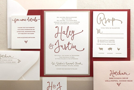 Modern Letterpress Wedding Invitation Suite