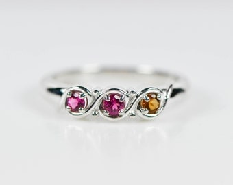 Custom Sterling Silver or 14k White Gold 2 3 4 or 5 Stone Personalized Mothers Birthstone Ring