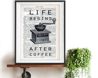 Vintage Coffee Art Print Typography Poster Wall Decor, Life begins after coffee, Inspirational Print Home Decor Winter Kitchen Christmas