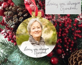 Remembrance Memorial Photo Ornament  - Handwriting Photo Ornament - Grandmother Ornament - Grandfather Ornament - Loved Ones Ornament