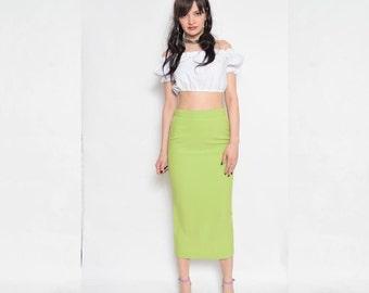 Vintage 90's Lime Green Pencil Skirt / High Waisted Green Skirt / High Waisted Midi Skirt /Mid Calf Pencil Skirt