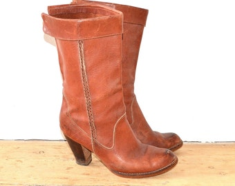 High Heel Cowboy Boots - 70s Boho Southwestern Riding Boots - Leather Campus Boots - Vintage Stacked Heel Western Boots -