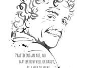 Kurt Vonnegut - Writer - print from ink drawing - poster print - wall art - Famous writers series