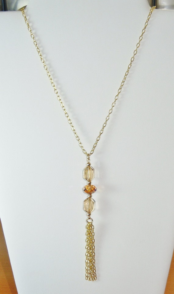 swarovski beaded tassel pendant necklace by