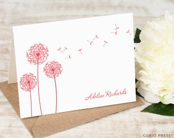 Personalized Notecard Set / Folded Personalized Stationery / Personalized Stationary Note Cards / Flower Thank You Notecard // DANDELION