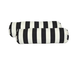 SET OF 2 - Indoor / Outdoor Decorative Bolster Neckroll Pillows - Black and White Stripe