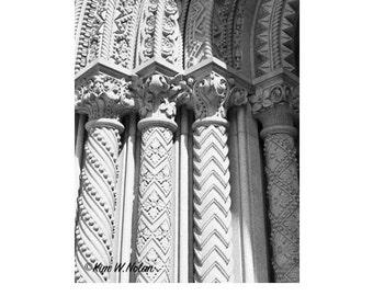 Four Pillars Architecture photography, Columns, Black and White Photography, architectural detail, architecture art, stone pillars
