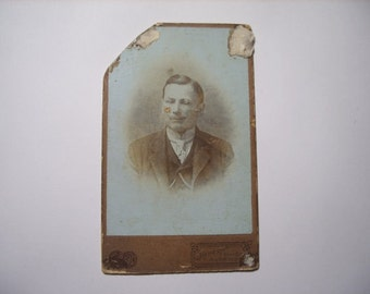 Vintage photo magician - unusual Paper Ephemera Cabinet Portrait Old Victorian Antique CDV Collectibles Repurpose Recycle