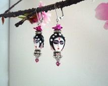 asian earring, goddess   earring, geisha earring, chinese earring,  antique silver earring, boho chic earring, zen earring, ethnic earring