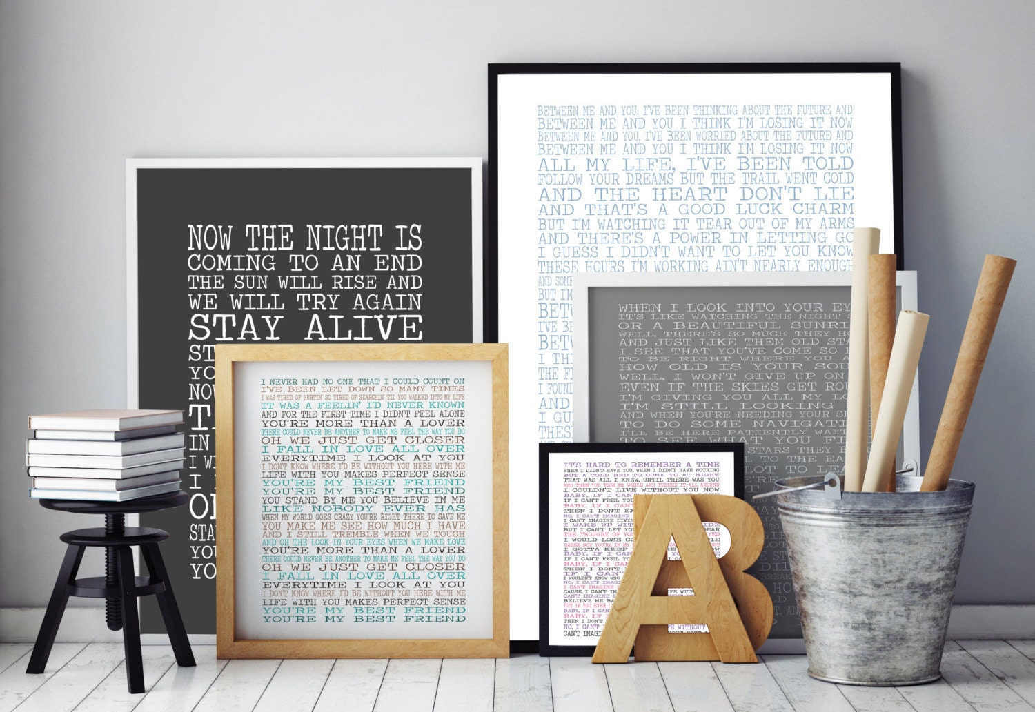 Song Lyric Wall Art customised song lyrics print lyrics wall art typographic