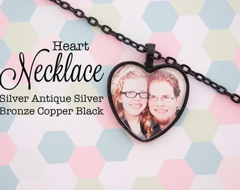 Custom Photo Necklace Heart Pendant Personalized Gift Silver, Antique Silver, Antique Bronze, Antique Copper, Black