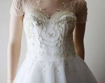 Stunning Hand Beaded Wedding Bridal Dress in Ivory or White. Also available as a long sleeve.