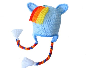 Blue Horse Hat, Girls Pony Hat, Rainbow Pony Hat, Rainbow Mane, Tassels, Girls Dress Up, Girls Costume, Toddler Girls Hat, Animal Hat, Silly
