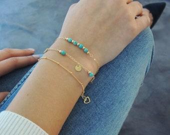 Turquoise Bracelet Set, Gold Filled or Sterling Silver, Delicate Bracelet Set, Dainty Turquoise Bracelet, Set Of 3 Bracelets