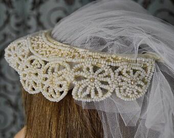 1950s Vintage Gatsby-style Beaded Bridal Headband and Veil