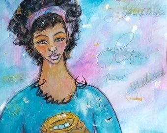 Original 11x14 Modern African American whimsical figure painting folk ArT