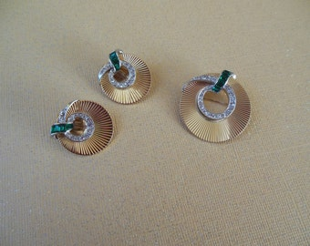 Vintage Boucher demi parure rhinestone pin and clip earrings