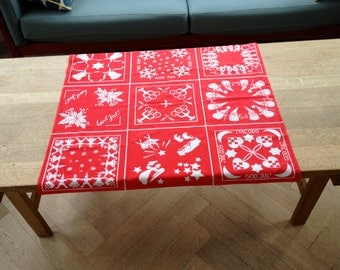 DANISH Minimalistic Christmas Tablecloth / Red and White Print / Jul Bells Angels Candles / 60s
