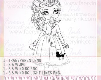 Teeny Bopper Poodle Skirt UNCOLORED Digital Stamp Image Adult Coloring Page jpeg png jpg Fantasy Craft Fae Cardmaking Papercrafting DIY
