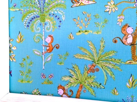 Monkeys Teal Fabric Covered Jewelry Board Pin Board