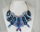 SALE Soutache jewelry statement Necklace large Endless Dream - blue purple cream turquoise black emroidery gioielli beadwork pendant