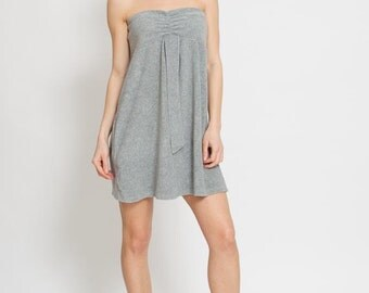 50% OFF SALE 1990s Grey Mini Dress – 90s Velvet Tube Top Indie Gown Stretch Knit Boho Gray Strapless Grunge Empire Waist Boho Summer Dress S