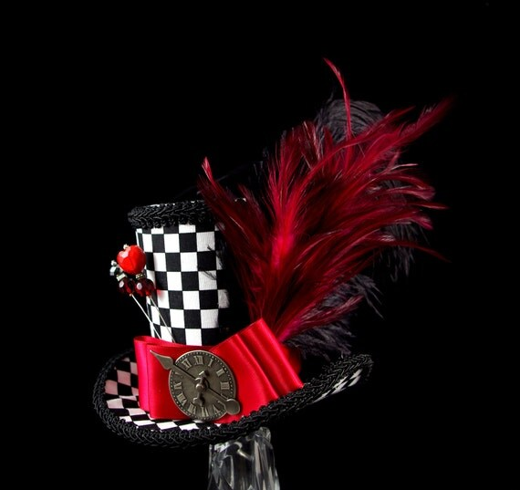 Queen of Hearts – Black, White, and Red Checkered Large Mini Top Hat , Alice in Wonderland, Mad Hatter Tea Party Derby Hag