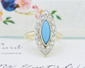 RESERVED Persian Turquoise Ring | Art Deco Ring | Diamond Navette Cocktail Ring | Vintage Gemstone Ring | 14k Yellow Gold Ring |Size 7